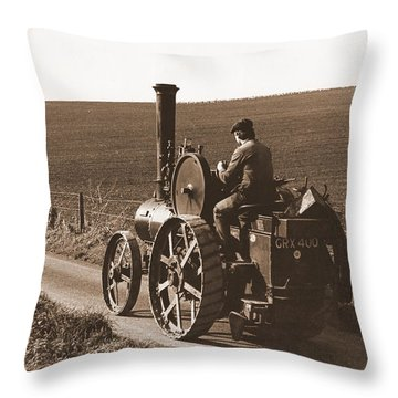 Steam Tractor Throw Pillow