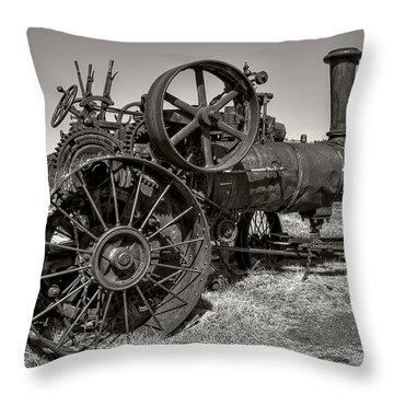 Steam Tractor - Molson Ghost Town Throw Pillow by Daniel Hagerman