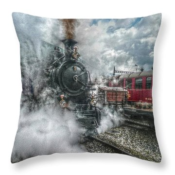 Throw Pillow featuring the photograph Steam Train by Hanny Heim