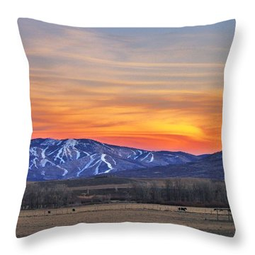 Steamboat Alpenglow Throw Pillow by Matt Helm