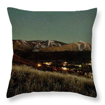 Steamboat Night Landscape Throw Pillow