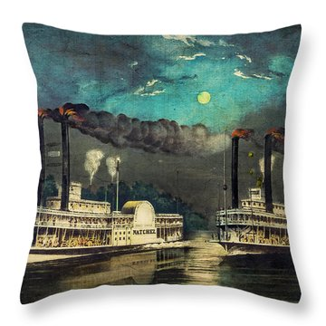 Throw Pillow featuring the digital art Steamboat Racing On The Mississippi by Lianne Schneider