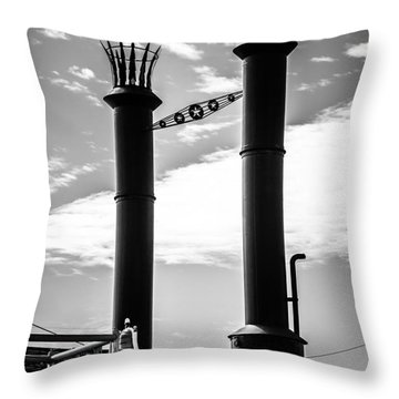 Steamboat Smokestacks Black And White Picture Throw Pillow by Paul Velgos