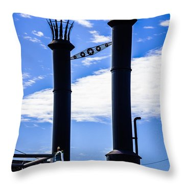 Steamboat Smokestacks On The Natchez Steam Boat Throw Pillow by Paul Velgos