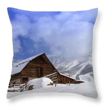 Steamboat Springs Barn History Throw Pillow by Teri Virbickis