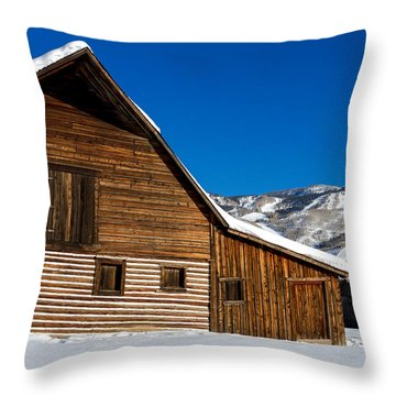 Steamboat Springs Historic Barn Throw Pillow by Teri Virbickis
