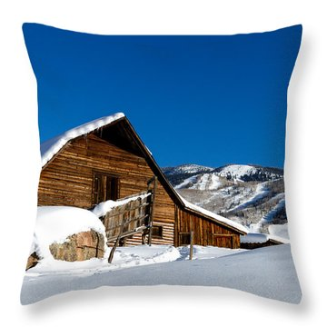 Steamboat Springs History Throw Pillow by Teri Virbickis