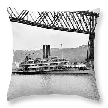 Steamer Albany Under Poughkeepsie Trestle Black And White Throw Pillow