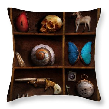Steampunk - A Box Of Curiosities Throw Pillow by Mike Savad