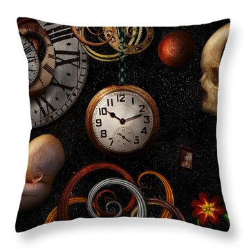 Steampunk - Abstract - The Beginning And End Throw Pillow by Mike Savad