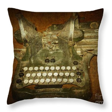 Steampunk Antique Typewriter Oliver Company Throw Pillow by Svetlana Novikova