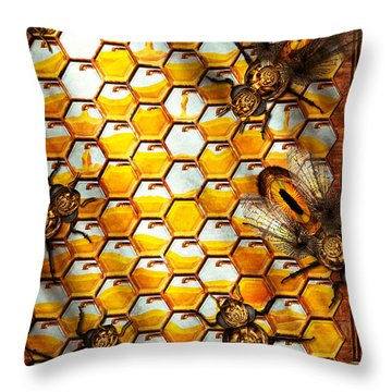 Steampunk - Apiary - The Hive Throw Pillow by Mike Savad