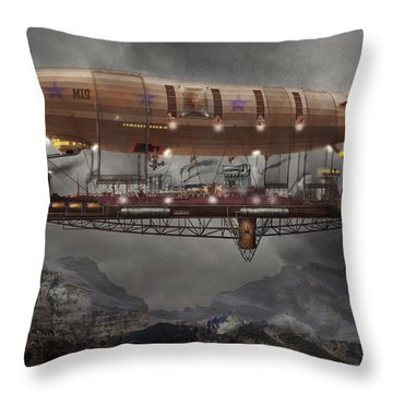 Steampunk - Blimp - Airship Maximus  Throw Pillow