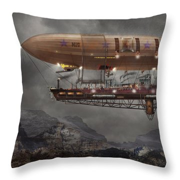 Steampunk - Blimp - Airship Maximus  Throw Pillow by Mike Savad