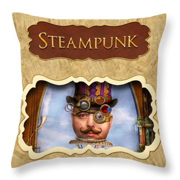 Steampunk Button Throw Pillow by Mike Savad