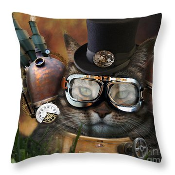 Steampunk Cat Throw Pillow
