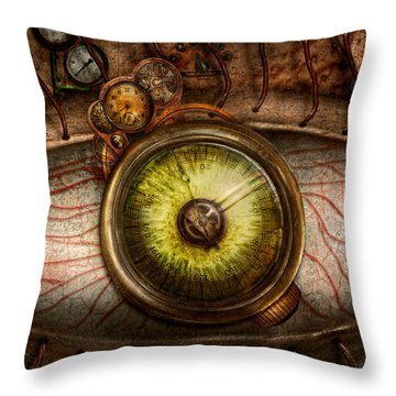 Steampunk - Creepy - Eye On Technology  Throw Pillow by Mike Savad
