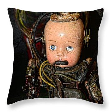 Steampunk - Cyborg Throw Pillow by Paul Ward