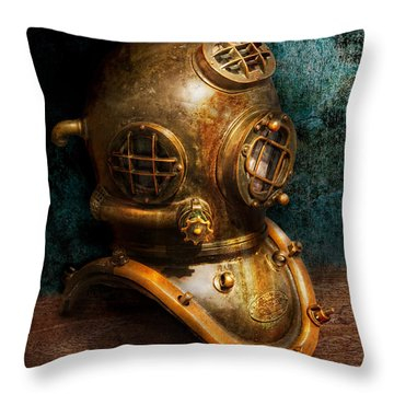 Steampunk - Diving - The Diving Helmet Throw Pillow