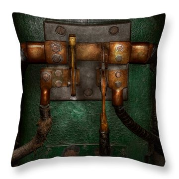 Steampunk - Electrical - Pull The Switch  Throw Pillow by Mike Savad