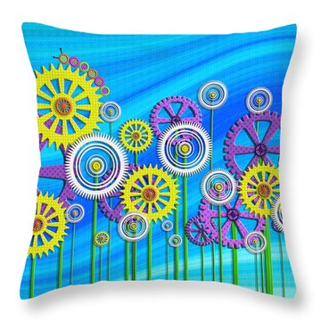 Steampunk Garden Throw Pillow