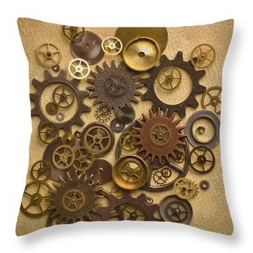 Steampunk Gears Throw Pillow by Diane Diederich