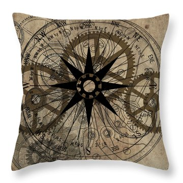 Steampunk Gold Gears II  Throw Pillow
