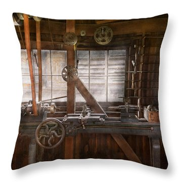 Steampunk - Machinist - My Tinkering Workshop  Throw Pillow by Mike Savad