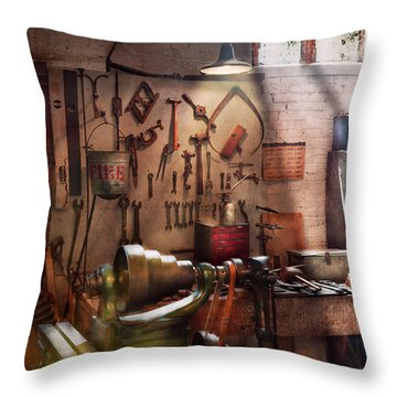 Steampunk - Machinist - The Inventors Workshop  Throw Pillow by Mike Savad