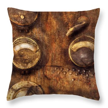 Steampunk - Meters D-66 Throw Pillow by Mike Savad