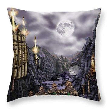Steampunk Moon Invasion Throw Pillow