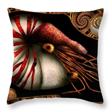 Steampunk - Nautilus - Coming Out Of Your Shell Throw Pillow by Mike Savad