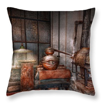 Steampunk - Private Distillery  Throw Pillow by Mike Savad