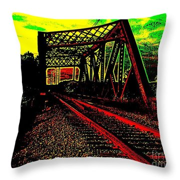 Steampunk Railroad Truss Bridge Throw Pillow