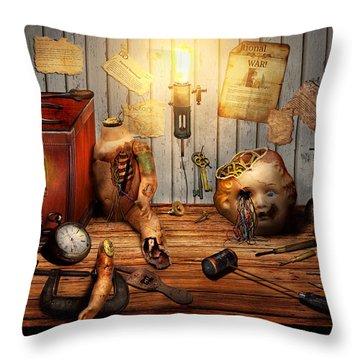 Steampunk - Repairing A Friendship Throw Pillow by Mike Savad