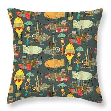 Steampunk Sky Dark Throw Pillow