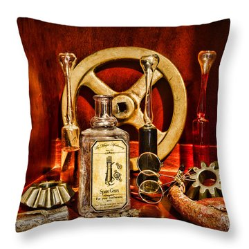 Steampunk - Spare Gears - Mechanical Throw Pillow by Paul Ward