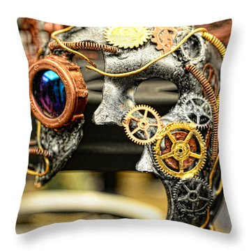Steampunk - The Mask Throw Pillow by Paul Ward