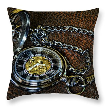 Steampunk - The Pocketwatch Throw Pillow by Paul Ward