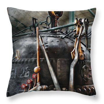 Steampunk - The Steam Engine Throw Pillow by Mike Savad