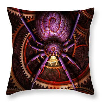 Steampunk - The Webs We Weave Throw Pillow by Mike Savad