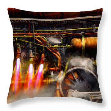 Steampunk - Train - The Super Express  Throw Pillow by Mike Savad