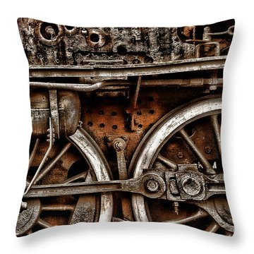Steampunk- Wheels Locomotive Throw Pillow