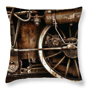 Steampunk- Wheels Of Vintage Steam Train Throw Pillow