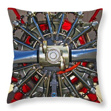 Stearman Engine Throw Pillow by Dale Jackson