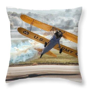 Stearman Model 75 Biplane Throw Pillow by Alan Toepfer