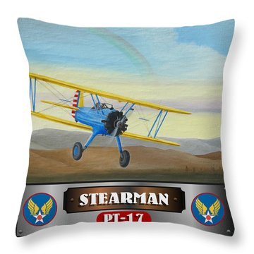 Stearman Pt-17 Throw Pillow