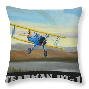 Stearman Pt-17 Training Flight Throw Pillow