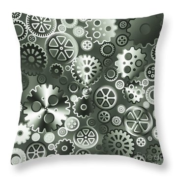 Steel Gears Throw Pillow by Gaspar Avila