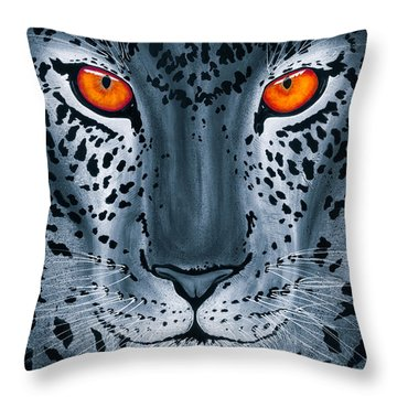 Throw Pillow featuring the painting Steel Leopard by Dede Koll